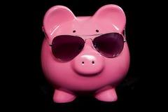 Banca Piggy con gli occhiali da sole Immagini Stock Libere da Diritti
