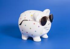 Banca Piggy con gli occhiali da sole Fotografie Stock