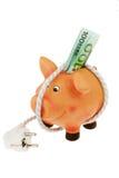 Banca Piggy con il cavo di alimentazione e la spina Immagine Stock