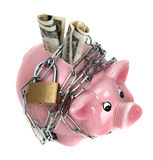 Banca piggy dentellare con la catena ed il lucchetto Immagini Stock Libere da Diritti