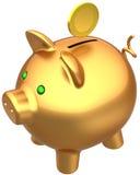 Banca piggy dorata con una moneta Fotografia Stock Libera da Diritti