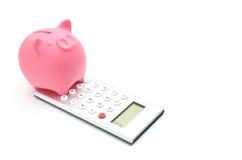 Banca Piggy e calcolatore Immagine Stock