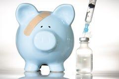 Banca Piggy e farmaco Immagine Stock