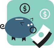 Banca Piggy e soldi Fotografia Stock