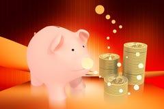 Banca Piggy ed oro Immagini Stock Libere da Diritti