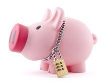 Banca Piggy fissata con il lucchetto Immagine Stock Libera da Diritti