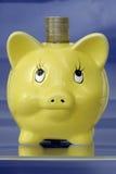 Banca piggy gialla Fotografia Stock Libera da Diritti