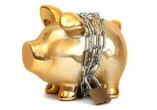 Banca piggy protettiva Fotografie Stock Libere da Diritti