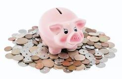 Banca Piggy sulle monete Fotografie Stock Libere da Diritti