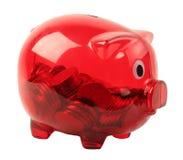 Banca piggy trasparente rossa Fotografie Stock Libere da Diritti