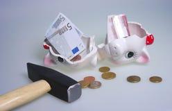Banca piggy uccisa Fotografia Stock Libera da Diritti