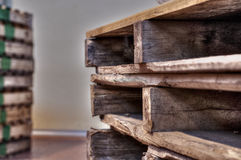Bancali da trsporto. Transport pallets placed in warehouse Stock Photos