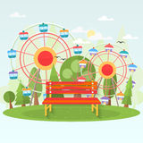 Banch in amusement park . Vector. Royalty Free Stock Photos