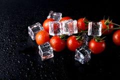 Banch des tomates-cerises et des glaçons rouges sur la table humide noire Se image libre de droits