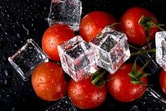 Banch des tomates-cerises et des glaçons rouges sur la table humide noire Se images libres de droits
