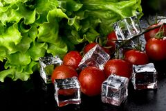 Banch of red cherry tomatos, green salad and ice cubes on black Stock Images