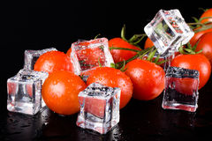 Banch of red cherry tomatos and ice cubes on black wet table. Se Stock Photography