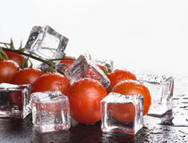 Banch of red cherry tomatos and ice cubes on white background. S Stock Image