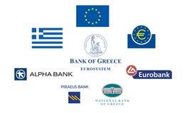 Banche della Grecia Fotografia Stock Libera da Diritti