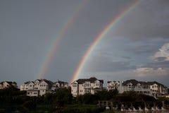 Banche esterne del doppio arcobaleno Fotografia Stock Libera da Diritti