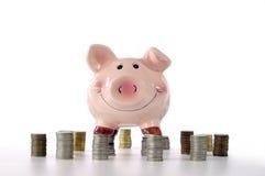 Banche Piggy che si levano in piedi sulle monete Immagine Stock