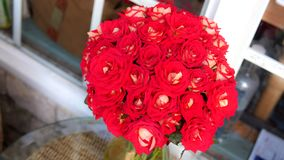 Banchetto bianco delle rose rosse in vaso fuori dell'iarda fotografia stock libera da diritti
