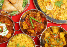 Banchetto indiano del pasto del curry Fotografia Stock Libera da Diritti