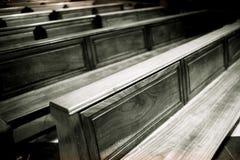 Banchi di chiesa Barca BW Immagine Stock Libera da Diritti