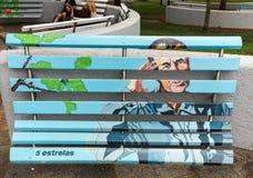 Banchi di legno artisticamente dipinti in un parco a Funchal La Madera, Portogallo immagini stock libere da diritti