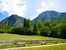 Banchi di legno, prato verde ed alpi tedesche fotografie stock