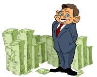 Banchiere con soldi illustrazione di stock