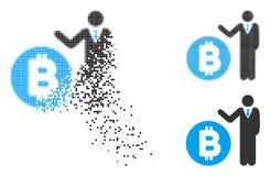 Banchiere di semitono punteggiato decomposto Icon di Bitcoin Illustrazione di Stock