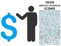 Banchiere Icon con 1000 icone mediche di affari Immagine Stock Libera da Diritti