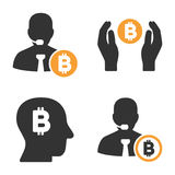 Banchiere Vector Icon Set di Bitcoin Illustrazione Vettoriale