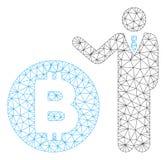 Banchiere Vector Mesh Wire Frame Model di Bitcoin royalty illustrazione gratis