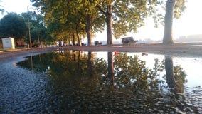 Banchina del ` s di Zemun dopo pioggia Fotografia Stock Libera da Diritti