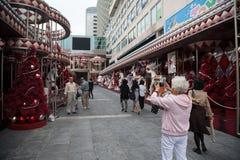 Banchina della decorazione prima del Natale in Hong Kong Immagini Stock Libere da Diritti