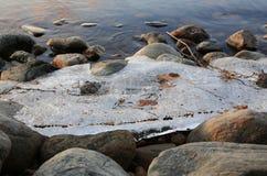 Banchisa galleggiante sul lago vicino alla riva Immagine Stock Libera da Diritti