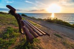 Banco al tramonto Fotografia Stock