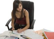Banco, allievo femminile quando studiano Fotografie Stock