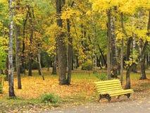 Banco amarillo en el parque del otoño Fotos de archivo libres de regalías