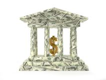 Banco americano com símbolo dourado do dólar foto de stock royalty free