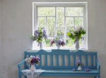 Banco azul com lilás Fotografia de Stock