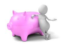 Banco blanco del dinero de 3d Person With Pink Piggy Fotos de archivo libres de regalías