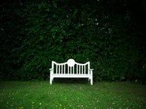 Banco blanco en jardín Imágenes de archivo libres de regalías