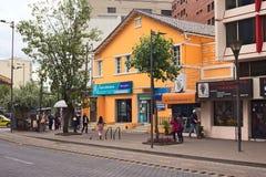 Banco Bolivariano sur l'avenue d'Amazonas à Quito, Equateur Images libres de droits