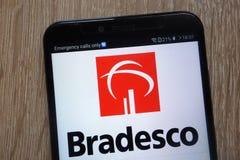Banco Bradesco logo displayed on a modern smartphone royalty free stock images