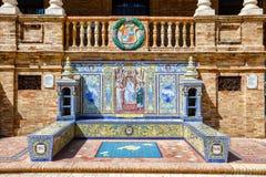Banco cerâmico com um episódio histórico de Balearic Island Fotos de Stock Royalty Free