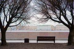 Banco clássico sobre sob as árvores, em St Petersburg Fotografia de Stock