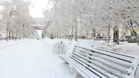 Banco coberto com a geada, Novosibirsk de Seat filme